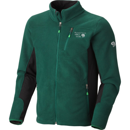 Camp and Hike Like a giant bunny giving you a bear-hug, the insanely soft Mountain Hardwear Men's Dual Fleece Jacket will keep you warm and cozy when the chill blows in. It also features a smooth exterior and stretchy side and underarm panels for high-performance mobility when you're climbing, hiking, or skiing. - $68.72