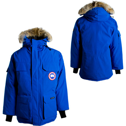 Camp and Hike Before you leave the warmth of your igloo, arm yourself against the toughest weather on the planet with the Canada Goose Polar Bears International Expedition Down Parka. When cold exposure can kill you, the toasty duck down insulation and removable coyote fur ruff around the hood fights nature with nature. The rest of the jacket features a water-resistant Arctic-Tech shell, allowing marches into the white abyss with comfort and confidence. - $844.95