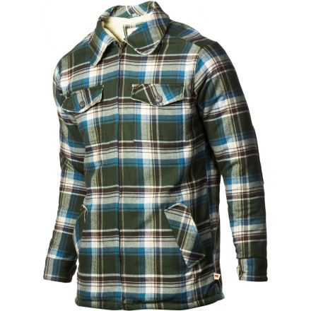 Camp and Hike Whether you're headed to work or setting up camp next to your favorite creek, zip up the Dakota Grizzly Dustin Jacket for soft warmth, rugged durability, and a classic flannel look. The front pockets warm up cold hands on frosty mornings, and the corduroy elbow patches add durability where you need it most. - $25.18
