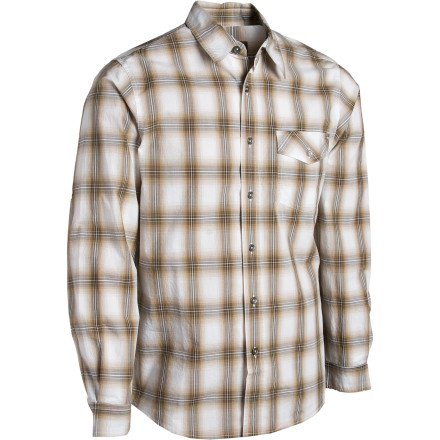 Entertainment Button up the Royal Robbins Mens Andale Shirt and rise a few notches in society. This cotton shirts sharp plaid print and semi-fitted style will elevate you from backcountry bum to well-dressed backcountry bum. - $19.23