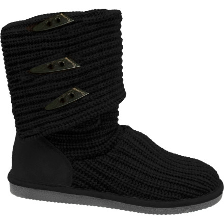 After a long, cold day in the deeps, the Bearpaw Womens Knit Tall Boot warms your tired feet and calves with its toasty knit uppers. Soft, padded sheepskin insoles cushion and support your pups. Wear these Bearpaw boots at their full 14.5-inch height with skinny jeans, or fold the cuff down when youre wearing a skirt. Sheepskin heel counters with Bearpaw logos lengthen the life of these winter boots, and durable rubber outsoles with wavy tread grip slick driveways and snowy sidewalks. - $32.97