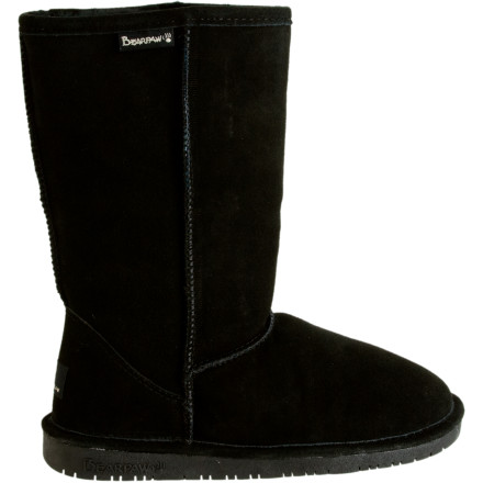 Its starting to get cold, which means its time to break out the Bearpaw Women's Emma Bootnot that you need dropping temperatures as an excuse. Featuring a classic 10-inch shaft height (measured from the arch), the Emma is your go-to casual footwear choice just about any time. The boot's sheepskin-wool lining and sheepskin footbed provide highly effective protection against the cold, and also breathe and wick moisture for total comfort. The rubber sole offers great grip, cushioning, and durability. - $41.97