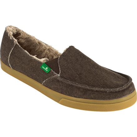 Entertainment The next time you're lounging around the house on a rainy Sunday, find out how the Sanuk Standard Chill Slipper got its name. Lined with faux-shearling Chill material for supreme comfort, this canvas slip-on hugs your toes while you pass the time. An Aegis Microbe Shield treatment prevents odor build-up, so when it's finally time to reluctantly part with your footwear you don't have to feel self-conscious about it. - $23.38