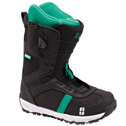 Snowboard Youre not a planner. Youre always ready to go with whatever flow strikes your fancy. The Forum Womens Script Snowboard Boot gives you the fit, comfort, and support you need in order to improvise wildly on the mountain. Tweaker technology means this boot's medial side has a softer flex for presses, spins, and grabs, yet the boot maintains the support needed to stick any landing. - $84.98