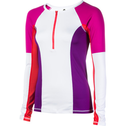 Surf Stay comfortable and protect yourself from the sun with the Roxy Women's Slow Sun Rashguard while you enjoy the rides at the waterpark or surf some waves. - $37.40