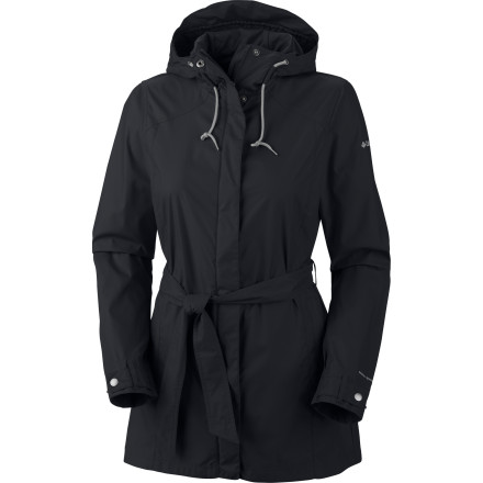 Fitness The Columbia Women's Pardon My Trench Rain Jacket offers you a stylish, weather-resistant jacket to wear on cloudy, rainy days around town. Its Modern classic fit, longer cut, and adjustable belt provides a flattering, feminine look while you run errands, catch a baseball game, or take the pooch out for a walk. - $69.95