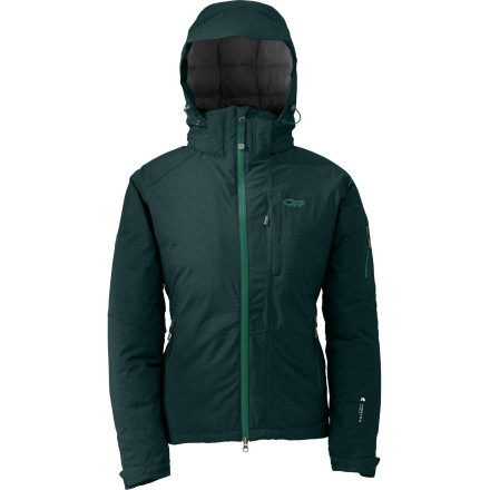 Ski The Outdoor Research Women'''s Stormbound Jacket lives for those heavy-clouded days when everyone else hides in the lodge. Thanks to 650-fill down insulation and weather-stopping fabric, the Stormbound keeps you on the hill so you can enjoy all that fresh powder. - $314.97