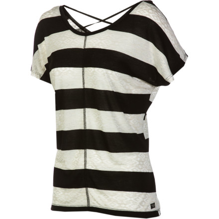 Surf The Billabong Women's Ground You Short-Sleeve Shirt uses on-trend horizontal stripes and a loose fit to give you a casual, carefree look that is great for downing cosmos along the boardwalk. - $30.56