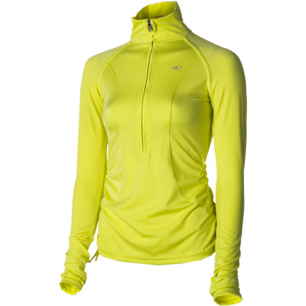 Fitness Kick it into high gear in the O'Neill Amity Women's Zip-Neck Long-Sleeve Shirt. The polyester and spandex fabric is highly flexible and wicks moisture away from your skin to keep you dry and warm. It even performs in water, so after your morning jog you can drop by the beach and go for a quick swim without having to shed any layers, and it dries super-quickly so that you don't stay sopping wet after you leave the water. - $69.95