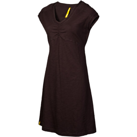 Entertainment Nature Girl, soothe your soul and put a smile on your face with the organic-cotton Lole Women's Sorenza Dress, light and textured and Earth-loving. And a flattering A-line silhouette with fun, raw-edged inserts, V-neck, and sweet short sleeves assert that when you feel good you look fantastic. - $49.95