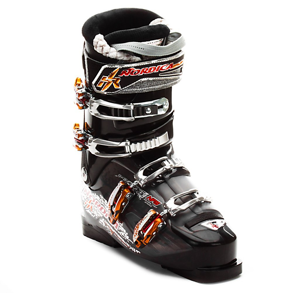 Ski Nordica Hot Rod 8.5 Ski Boots 2013 - The Nordica Hot Rod 8.5 is a great intermediate ski boot for someone who is looking to improve their skiing, and their on mountain experience. At 102mm wide in the forefoot this boot best fits someone with a narrow to medium wide foot and shaft of the leg. Nordica has a Natural Foot Stance in all of its Hot Rod Boots. The NFS is an abducted stance (toes pointing outward) the way you would stand naturally. The NFS increases your balance and energy transfer, making your skiing more efficient. The Precision Fit Fur Lined Liner is soft, cushy, and easy to slide in and out of. The Full Shock Eraser is an in boot dampening system designed to absorb the negative vibrations that can happen as you ski in any condition. Padding in the tongue, toes, calf and boot board smooth out your ride in the bumps, crud, or ice. A 40mm strap acts as a fifth buckle to increase your leverage in driving the boot, and the rebound. The Hot Rod 8.5 is perfect for the intermediate that has a narrow to medium wide foot, and will not back down from any run. . Warranty: One Year, Used: No, Skill Range: Advanced Intermediate - Advanced, Model Year: 2013, Product ID: 229977, Category: Downhill, Buckle Material: Aluminum, Buckle Count: 4, Flex Adjustment: No, Forefoot Width: 102mm, Sidecountry: No, Freestyle: No, Number of Micro Buckles: 4, Prewired For Heat: No, Ski/Walk: No, Race: No, Flex: Medium, Special Features: Full Shock Eraser, Width: Medium (100-103mm), Special Features: Natural Foot Stance, Gender: M - $299.95