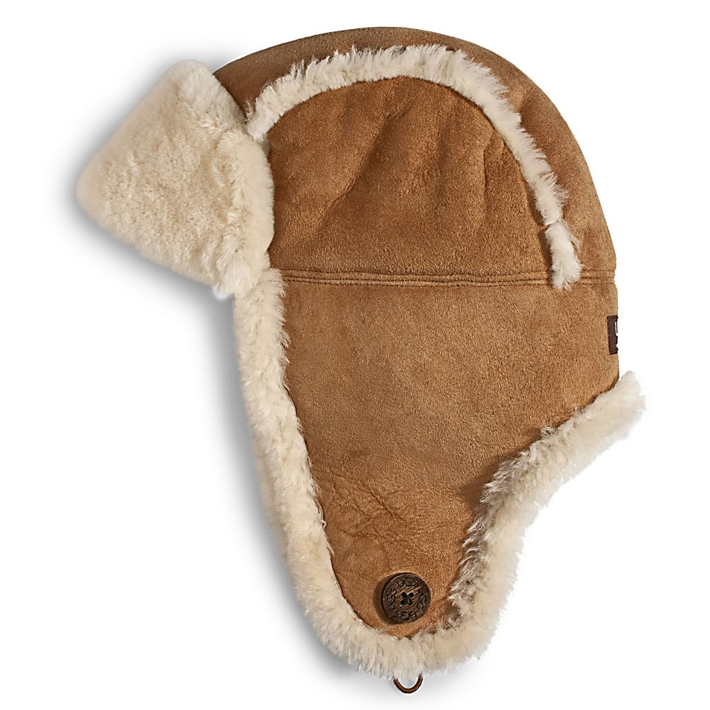 Entertainment UGG Australia Bailey Aviator Womens Hat - A chic way to keep your head and ears warm in the winter time, the UGG Bailey Aviator Hat is quite the fashionable choice. With flaps to cover your ears and designed with a super soft and cozy sheepskin you'll stay toasty all winter long without compromising your wardrobe. There's a Bailey Button Detail in case you want to button up for a snug fit and want to keep your chin warm too. From the stylish UGG Australia Collection, there's nothing more beautiful and soft than the UGG Bailey Aviator Hat. . Warranty: One Year, Battery Heated: No, Material: Shearling Sheepskin, Lined: Yes, Type: Earflap, Model Year: 2013, Product ID: 207382 - $129.95