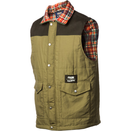 Camp and Hike The &Work Non-Fleece Vest transcends the barriers between streetwear, workwear, and mellow camping & fishing gear. This heavy-duty vest enhances its outdoorsy flavor with a woven flannel interior with a fold-over collar and includes a fold-over drop pocket concealed at the embroidered logo a perfect place for your phone, flies, pliers and other tools. - $57.57
