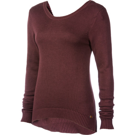 Keep your look simple, comfortable, and chic with the Arbor Women's Demi Sweater. This cozy sweater-knit pullover features a dropped back and quarter-length tie front that offers a relaxed appearance. - $50.37