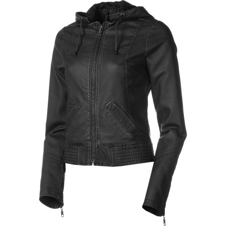 Auto and Cycle Your mean machine may be loud, slow, and held together with duct tape, but when you slip on the Billabong Women's Solitude Motorcycle Jacket, you make its black exhaust fashionable. The jacket's faux leather conveys the biker look without harming any fellow creatures and its hood provides a bit of shelter when your autumn rides get chilly. - $59.67