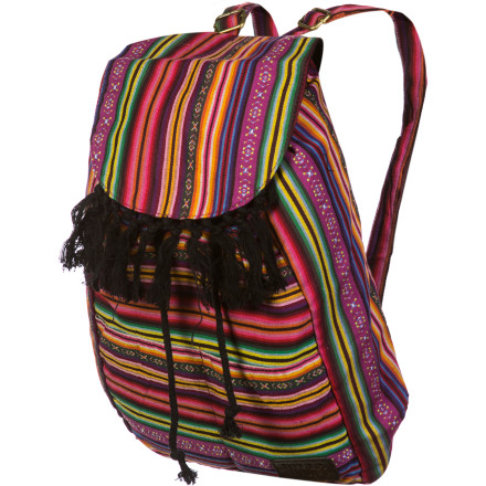 Camp and Hike Mix up your style while keeping your items for school, work, or play in order with the Billabong Women's Shake Up Slouchy Backpack. The Shake Up is adorned with tassels on the top flap and bold stripes that are certain to cause a stir among all the other drab packs out there. - $39.45
