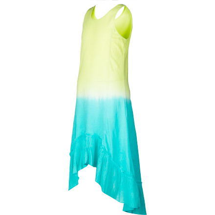Surf Irresistible is the word that leaps to mind when you see your surfer-girl in the Billabong Girls' Dream Believin' Dress. Its bohemian-beautiful dip-dye hues and high-low, ruffled hem oozes fun summery style and peace-loving precocity. - $23.37