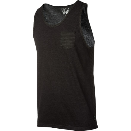 Surf They'll notice you when you arrive and when you leave in the coolly double-stylie Billabong Men's Pin Tank Top, with a solid front and a heathered, ministripe back. Cotton and polyester construction keeps you comfy in all conditions. - $19.56