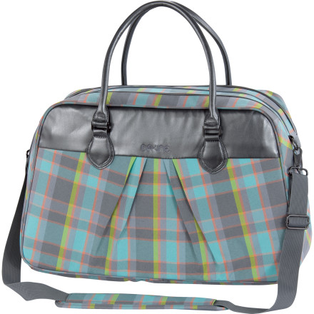 Entertainment Dakine's Satchel Carry-On is like a messenger bag, briefcase, and a purse all rolled into one. The Satchel features a padded and fleece-lined laptop sleeve that will accommodate a 17 inch laptop, interior organizer pockets, and an open back panel designed to slide over a travel bag handle. The removable shoulder strap, soft vinyl trim and handles, and light weight make the Satchel comfortable to carry around, and the exterior zippered pocket makes it simple to get to small items. - $52.47