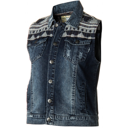 Skateboard Liven up your short and tee look with the Element Women's Traveler Denim Vest. Pop its color and get mad fashion points from your gals. - $48.62