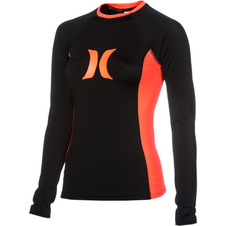 Surf Four-way stretch, sun protection, and odor-resistance make the Hurley Women's One & Only Solids Rashguard a practical wave-riding necessity. But you won't mind due to its comfy flatlock seams and flattering and feminine good looks. Sometimes you luck out like that. - $42.95