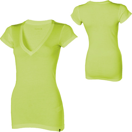 Surf The Hurley Women's Solid Perfect V-Neck T-Shirt gives you a solid start to any number of outfits. Clean and straightforward, this all-cotton V-neck goes with, over, or under just about any other item in your wardrobe. - $17.96