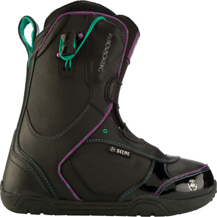 Snowboard When you dont feel like paying for a night-skiing lift ticket, lace up the K2 Scene Snowboard Boots and check out some new urban features. The Conda liner lacing system lets you fine-tune the fit without a lot of hassle, and the medium-soft flex gives you the mobility you need to bust your favorite tricks. - $79.98