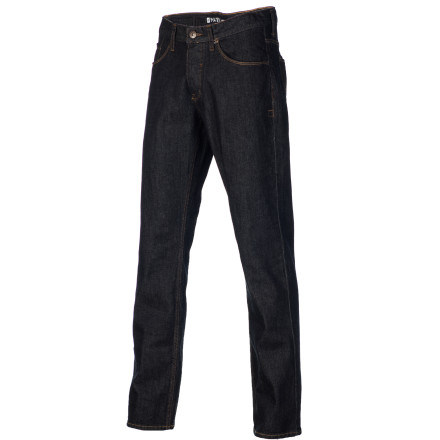 Skateboard The kids with chicken legs can keep their skinny jeans; you're much more comfortable in the Matix Miner Men's Denim Pant. It has a straight leg fit that's not too tight and not too baggy, and it's woven with a touch of spandex for increased freedom of movement while skating or doing other activities. - $64.95