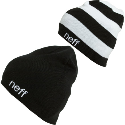 Skateboard The Neff Reversible Beanie is  well  reversible. Go figure. Rock one side of this Neff fine-gauge acrylic knit beanie, and if you're feeling saucy, flip it inside out and wear the striped side. A Neff embroidery logo represents who you're with. - $23.95