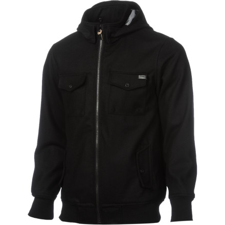 When the winter winds start blowing, make sure you have the military-style Nixon Captain II Men's Hooded Jacket before you head out to the skatepark. The wool/polyester blend fabric is thick and warm for mid-winter sessions, and you can ditch the hood if you don't want it to fly over your face when you're throwing backside 180s. - $104.97