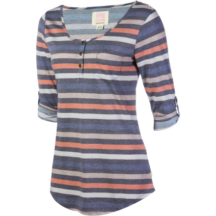 Surf The Quiksilver Women's Dusk To Dawn Henley Shirt feels super-soft against your skin when you get ready for another day of classes. - $44.50