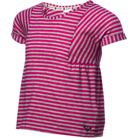 Surf The Roxy Girls' Good Lookin Short-Sleeve Shirt adds a flattering, stylish touch when she wears it with a skirt or pants. - $19.18