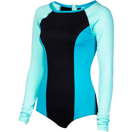 Surf If you're sick of grabbing your bikini to make sure it doesn't come off during a tumble through the waves, slip into the Roxy Women's Sweet Wave Long-Sleeve Bodysuit. This comfortable, quick-drying bodysuit stays put when you take a wipeout on your surf or wakeboard, so you can focus on getting back to the surface and not on whether or not you're still decent. - $56.00