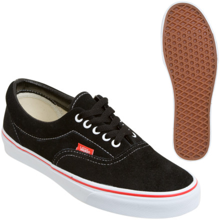 Skateboard The classic VANS Men's ERA Shoe keeps it simple but comfortable with its lace-up canvas upper and tough vulcanized rubber sole. The high-quality canvas and suede uppers lend the ERA its signature style and durability. An EVA midsole cushions and absorbs shock on hard impacts, eliminating the pins and needles after big drops. - $49.46