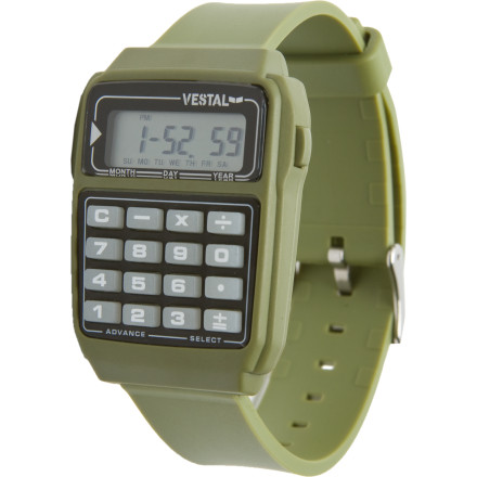 Entertainment Forget whipping out your cell phone when you need to figure out a tip; just use the nifty built-in calculator on the Vestal Datamat Watch. Old-school style is sooo new school these days, and who doesnt want to step back in time and have a retro watch with a 16-button keypad. - $49.95
