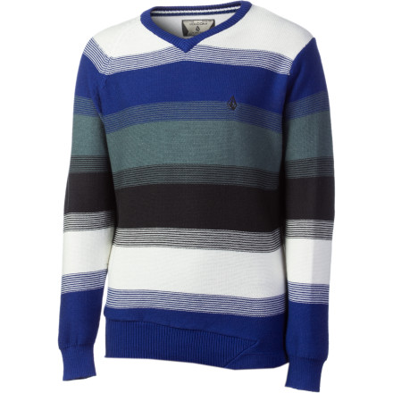 Surf Get Junior looking decent for the holiday family photos. He'll be stoked on the Volcom Boys' Standard Stripe Sweater, and you'll be relieved that he's not wearing any t-shirts with holes in them. - $34.97