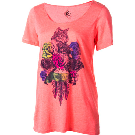Surf Volcom Wolves Of A Feather Boyfriend Crew - Short-Sleeve - Women's - $16.22