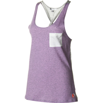 Surf The Volcom Women's Stone Only Tank Top is a simple, all-cotton tank that delivers a kick-in-the-pants surprise: a colorblock back with a fun, sexy knot at its center. An any-day top that easily fits under a cardigan or hoodie or goes it alone on a hot, summer day or sweaty dancefloor, this tank is soon-to-be your year-round staple. - $24.95