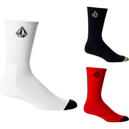 Skateboard Volcom Solid Socks - 3-Pack - Men's - $25.46
