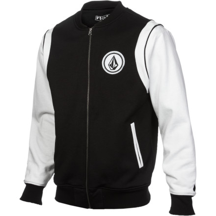 Fitness You like the look of the varsity jacket, but you don't wanna deal with all those pesky things about being on the team like showing up to practice and running. Not to mention that it would seriously cut into your online gaming time. Don't sweat it (literally), Volcom has your back with the Preps Men's Sherpa-Lined Full-Zip Sweatshirt. The hydrophobic fleece fabric repels moisture in case you get caught in a drizzle and the sherpa-fleece lined body keeps you cozy when temps dip. - $63.56