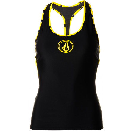 Surf Slide on the Volcom Women's Dada Dot Tank Rashguard and enjoy its comfort and security while you ride a wave or snorkel in clear waters. - $27.97