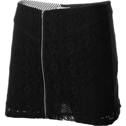 Entertainment Vamp it up in the lace-covered, fitted Volcom Women's Stone Roses Skirt. This mini can dress up with a silky tank or down with a tee and cardigan. But the striped lining, angled yoke seam, and full zip will invariably look sexy. - $33.71