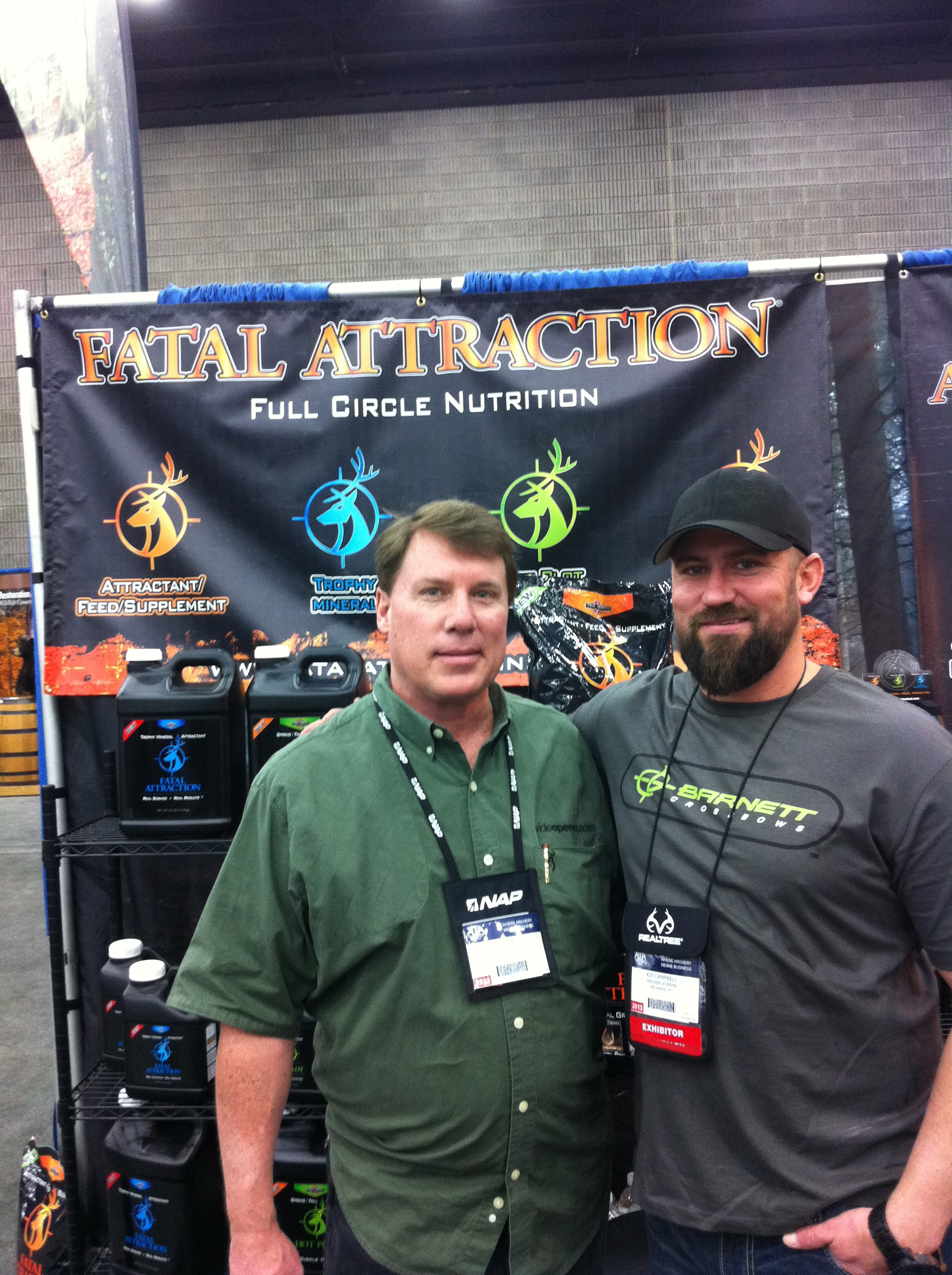 Entertainment WOS Team member Scott hanging out with Kip Campbell of True North Outdoors' Fatal Attraction and Red Arrow.