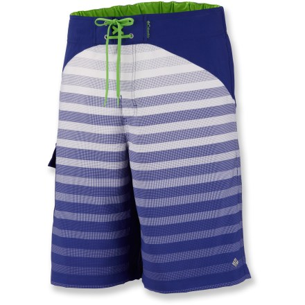 Surf Lightweight and quick-drying, the Columbia Widow Maker board shorts are a natural fit for lots of your warm-weather activities, from beach to trail to back yard. Durable polyester fabric is rain- and stain-resistant. Security pocket holds small essentials. Elastic at back waist provides a secure fit. Fabric provides UPF 50+ sun protection, shielding skin from harmful ultraviolet rays. Closeout. - $19.73