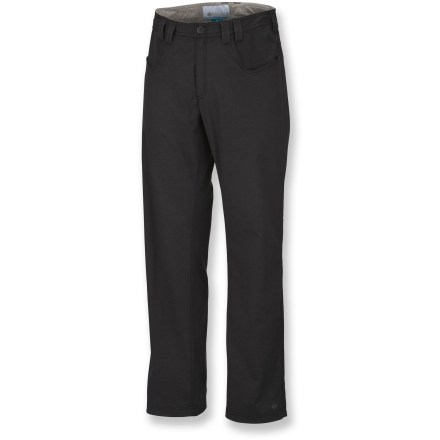 Camp and Hike With the Columbia Commuter pants you can skip the change of clothes when you arrive at work; they have all the style you'll need when you're off the bike. Durable stretch cotton/polyester OmniShield(R) fabric resists stains and light rain. Cuffs have reflective detailing to increase your visibility in low light. 2 front pockets; 2 back pockets. The Columbia Commuter pants are made of fabric that provides UPF 50+ sun protection, shielding skin from harmful ultraviolet rays. Closeout. - $29.73