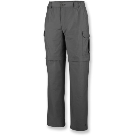 Camp and Hike You can adjust quickly to changing weather while hiking, or save yourself some weight when traveling, with the super-versatile Columbia Crested Butte convertible pants. Ripstop cotton/nylon fabric is lightweight and durable. Fabric provides UPF 15 sun protection, shielding skin from harmful ultraviolet rays. Side elastic waist for a comfortable fit. Front pockets; cargo pockets; back pocket. The Columbia Crested Butte convertible pants have an active fit. Closeout. - $28.73