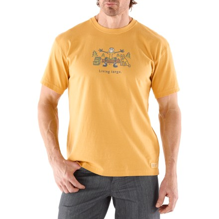 "The Life is good(R) Living Large Crusher T-shirt combines lofty softness and a handsome weathered look. Cotton is naturally soft, breathable and comfortable. ""Crushing"" process yields extra loft in fabric and doubles the softness. - $17.93"