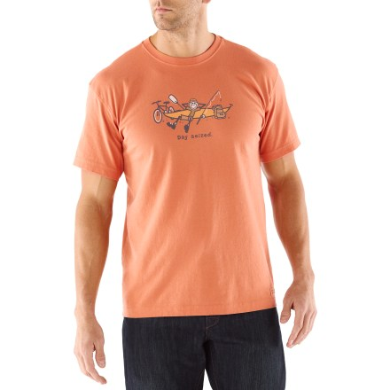 "The Life is good(R) Day Seized Crusher T-shirt offers a handsome weathered look and lofty softness. Cotton is naturally soft, breathable and comfortable. ""Crushing"" process yields extra loft in fabric and doubles the softness. - $26.00"