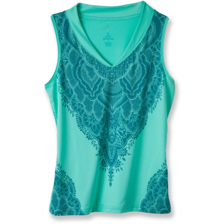 Fitness The prAna Melody tank top combines lightweight performance fabric with an elegant design. Recycled polyester and spandex fabric blend feels soft to the touch, dries quickly and moves easily with you. Sublimation print wraps around front and 4-way stretch moves with you during activity. The prAna Melody tank top offers a standard fit. - $34.93