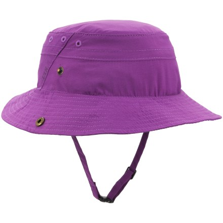 The REI Sahara Bucket hat for girls is an ideal companion on wilderness adventures or backyard forays. It easily stashes in a backpack to be pulled out when extra sun protection is needed. Fabric provides UPF 30 sun protection, shielding skin from harmful ultraviolet rays. Durable nylon fabric offers a comfortable, broken-in look and feel; polyester sweatband absorbs moisture. The REI Sahara Bucket hat features a brim with snap-up sides. - $13.93